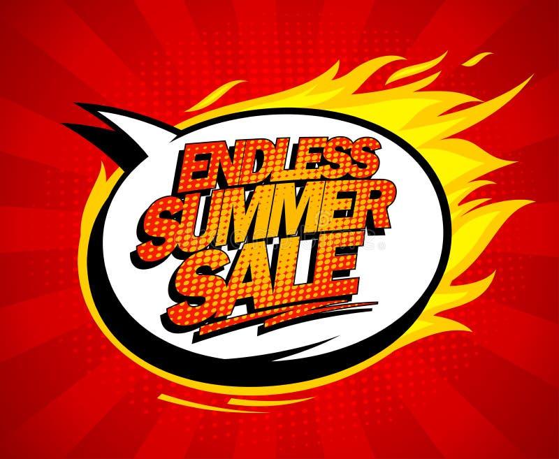 Endless summer sale pop-art design. Endless summer sale pop-art design with fiery speech bubble royalty free illustration