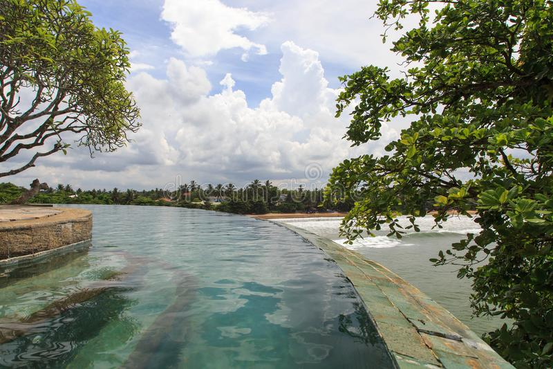 An endless tropical rim flow pool over looking the beaches of Galle - Sri Lanka. Tropical rim flow pool over looking the beaches of Galle - Sri Lanka. The pool royalty free stock photos