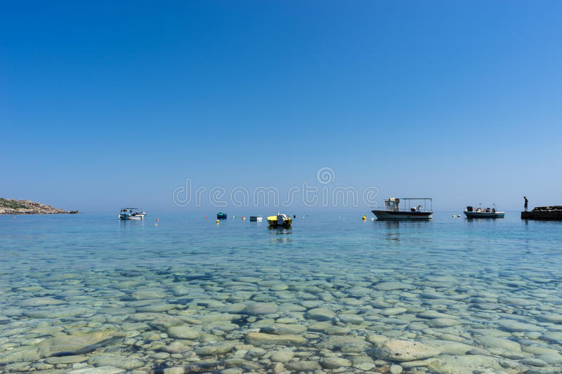Endless view. Over the crystal clear waters of Dahlet Qorrot stock photography