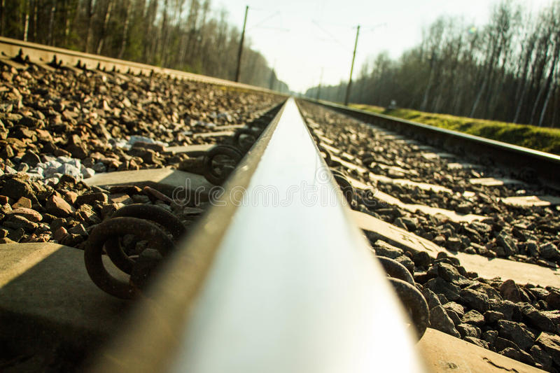 Endlessness of the rails. Rails and nature are the doors to eternity royalty free stock images