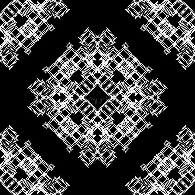 Endlose Beschaffenheit des Vektornahtlosen dekorativen Schwarzweiss-Musters vektor abbildung