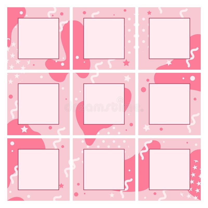 Endlose editable Schablone des Vektors für soziale Netzwerke Quadratische Hintergründe des Entwurfs für Social Media vektor abbildung