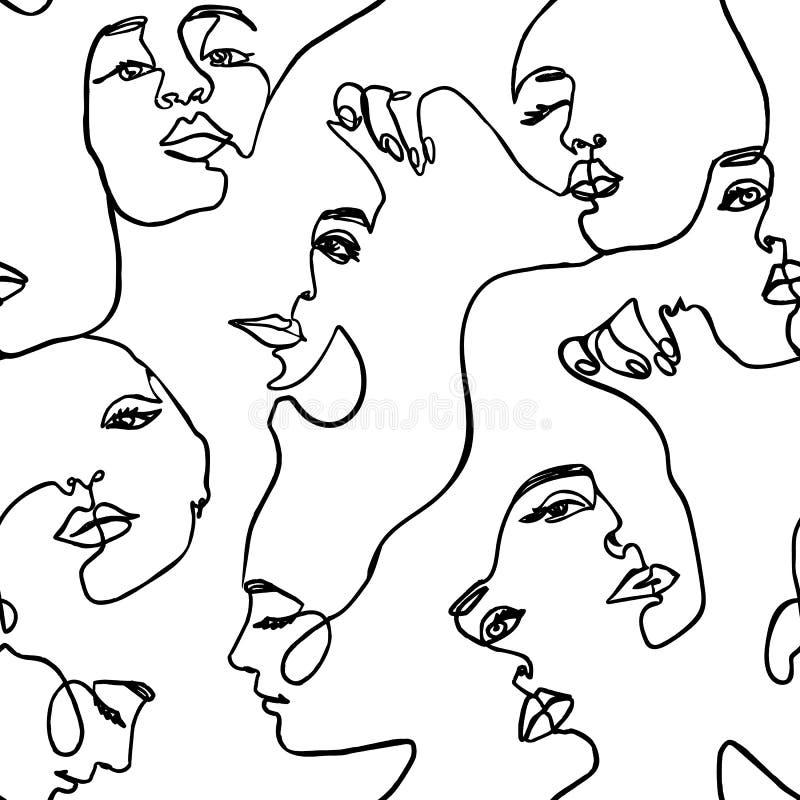Endlose Schnittstellenfrauen - Vector Endless Background Fashion Female Portrait One Line lizenzfreie abbildung