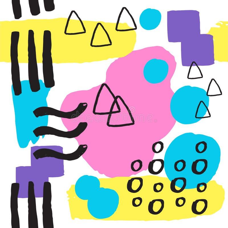 Endlose Zusammenfassung Universal-Musters Memphis nahtlosen füllt bunte geometrische Verzierung der Art- und Oberflächenbeschaffe lizenzfreie abbildung