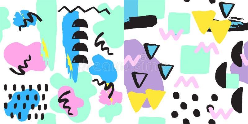 Endlose Zusammenfassung Universal-Musters Memphis nahtlosen füllt bunte geometrische Verzierung der Art- und Oberflächenbeschaffe stock abbildung
