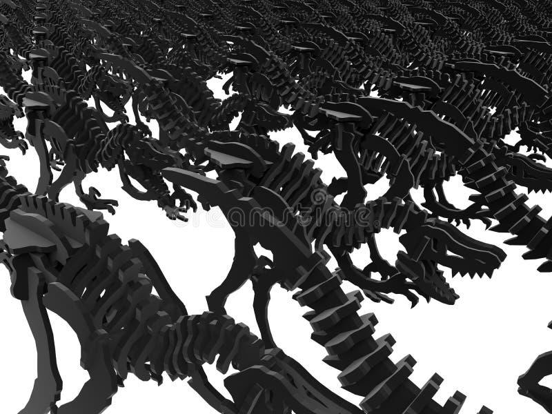 Endloser Hintergrund der Dinosaurierskelette vektor abbildung