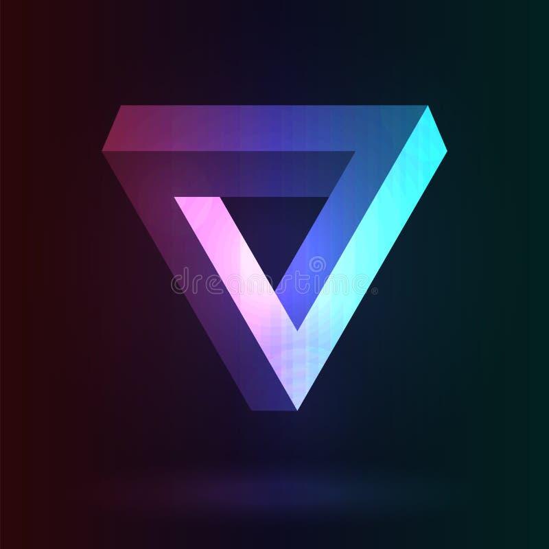 Endloses Dreieck mit Neonglühen auf einem dunklen Hintergrund Optisches IL stock abbildung