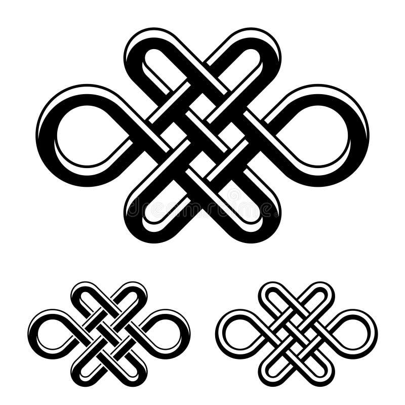 Endloses keltisches Knotenschwarz-Weißsymbol lizenzfreie abbildung