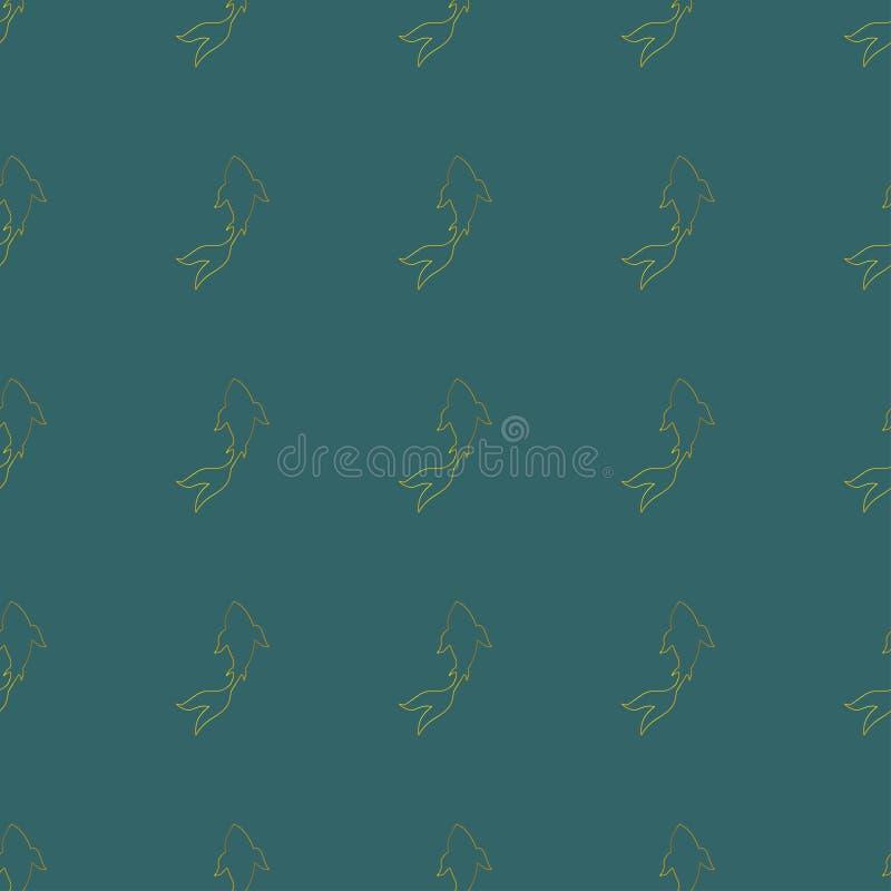 Endloses Muster der japanischen goldenen koi-koi Karpfen-Fische vektor abbildung