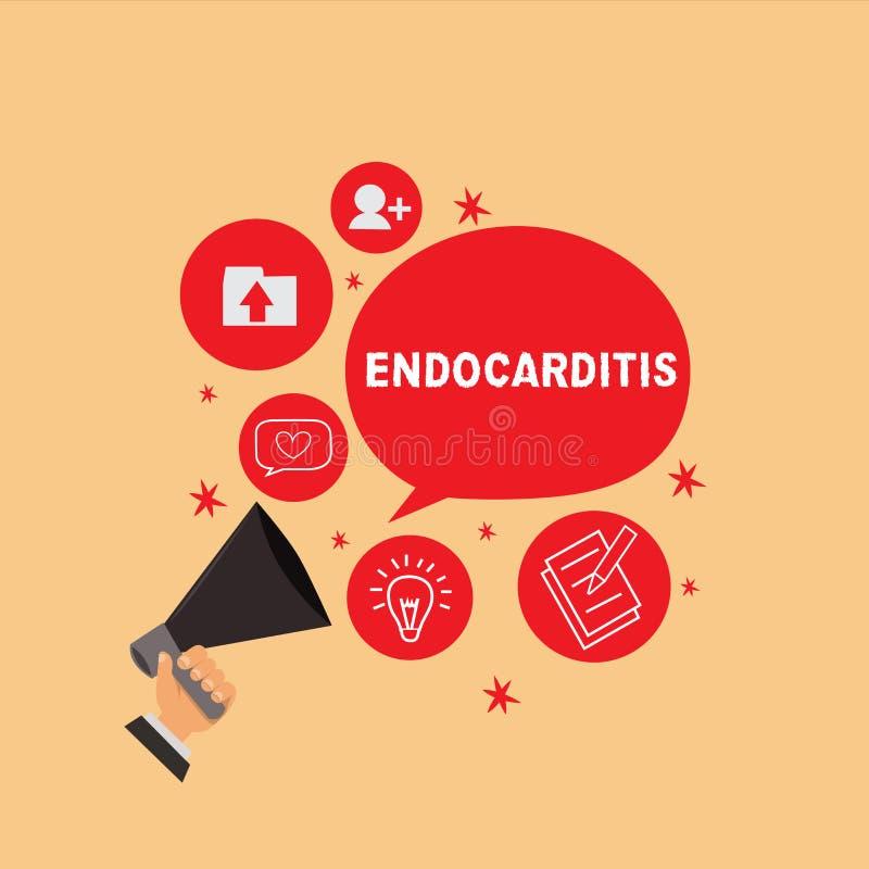 Endocarditis de la escritura del texto de la escritura Concepto que significa la infección y el hinchamiento serios de la capa in libre illustration