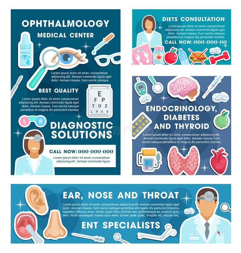 Endocrinologist ögonläkare, dietitianvektor royaltyfri illustrationer