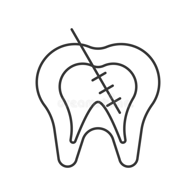 Endodontic or root canal treatment outline icon stock illustration