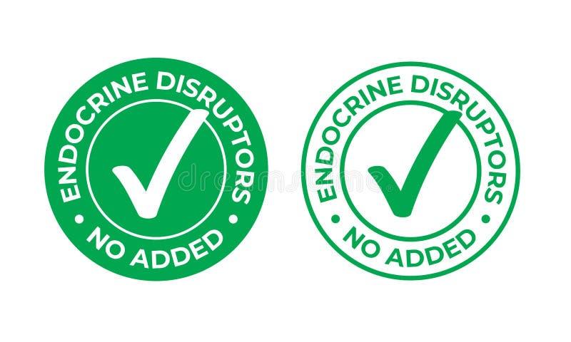 Endokrine Unterbrecherscheiben addierten nicht Vektorgrün-Häkchenikone Naturkostpaketstempel, gesund kein EDC oder endokrinen Unt stock abbildung