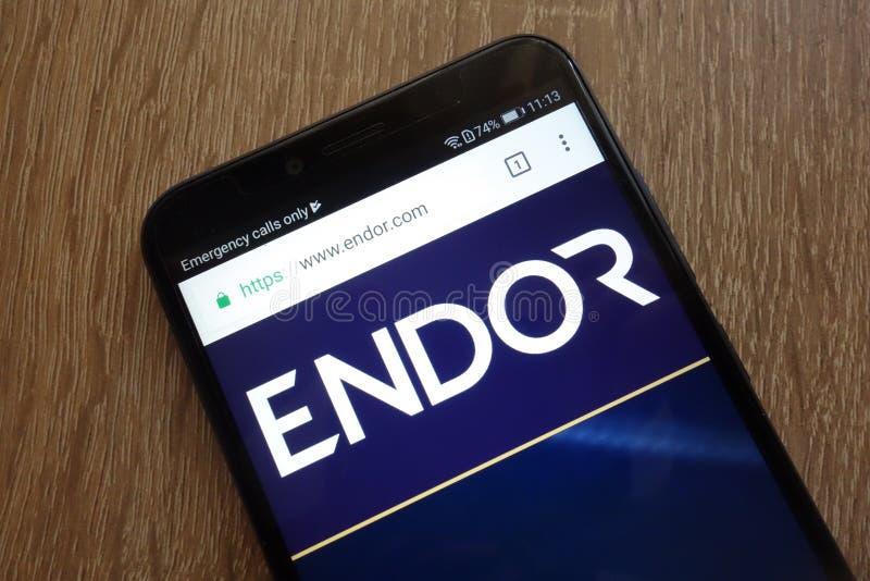 Endor-Protokoll EDR cryptocurrency Website angezeigt auf einem modernen Smartphone lizenzfreie stockbilder