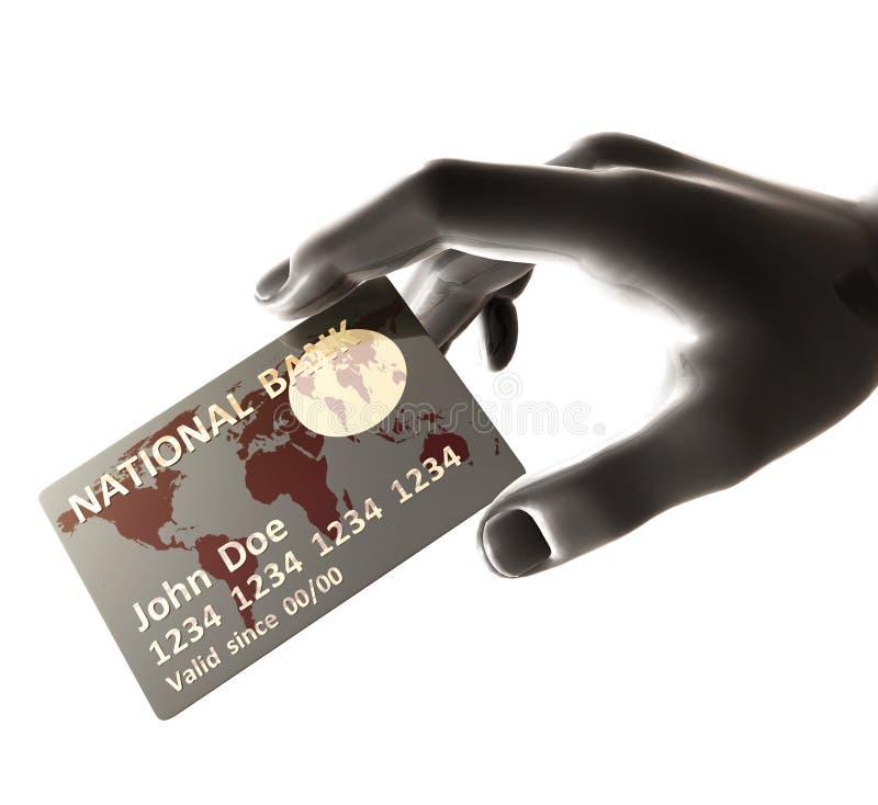 Endossando o cartão de crédito de prata ilustração royalty free