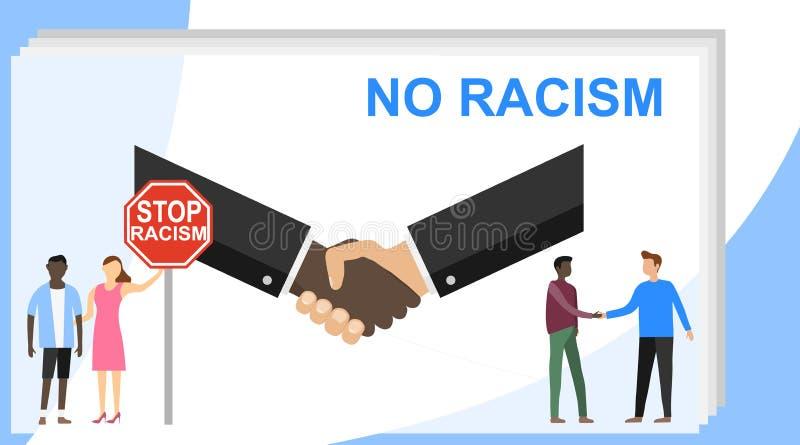 Endrassismus, kein Rassismus Keine Rassendiskriminierung von Leuten Auch im corel abgehobenen Betrag vektor abbildung