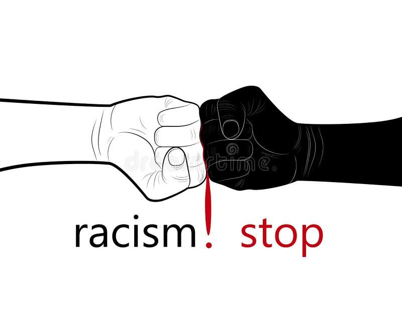 Endrassismuskonzept, zwei Hände Schwarzweiss und Blutstropfen in der Mitte mit Textendrassismus, unbedeutendes Plakat, lizenzfreie abbildung