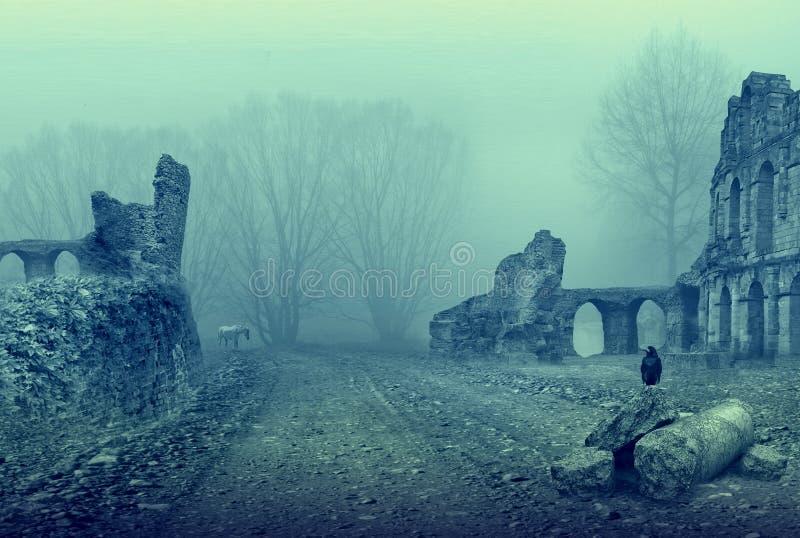 Endroit abandonné vieilles ruines et oiseau noir images libres de droits