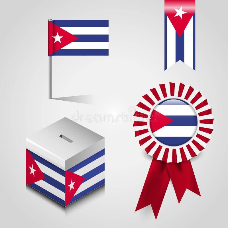 Endroit de drapeau de pays du Cuba sur la boîte de vote, la bannière d'insigne de ruban et le Pin de carte illustration stock