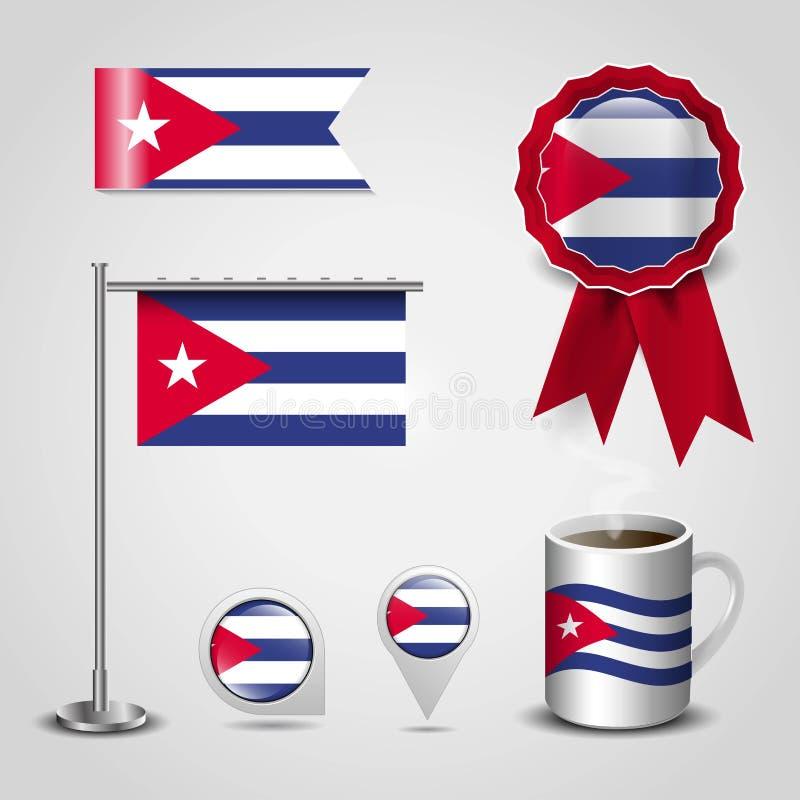 Endroit de drapeau de pays du Cuba sur le Pin de carte, le Polonais en acier et la bannière d'insigne de ruban illustration de vecteur