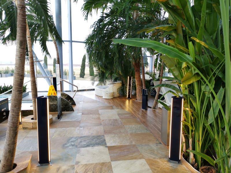 Endroit de relaxation à la station thermale avec de l'eau thermique photographie stock libre de droits