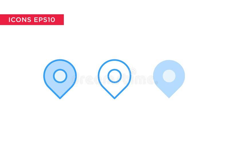 Endroit, point de contrôle, icône de message dans la ligne, contour, contour rempli et style plat de conception d'isolement sur l illustration libre de droits