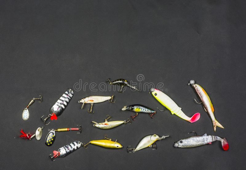 Endroit pour le texte près d'une amorce artificielle pour des poissons images libres de droits