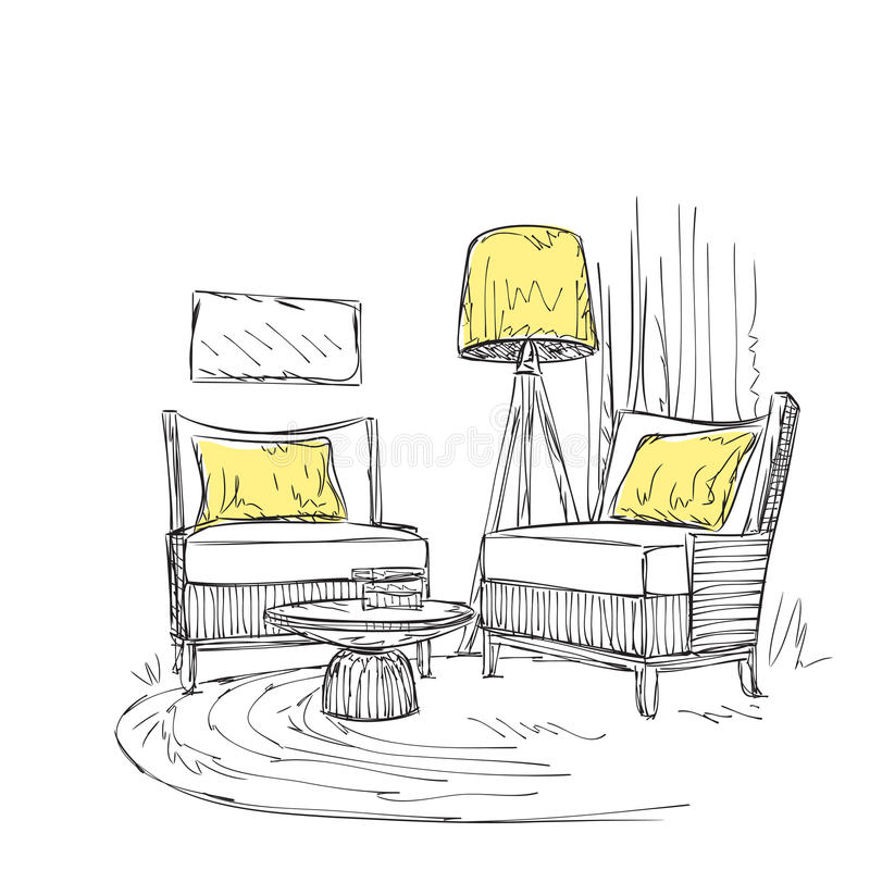 endroit pour lire avec le croquis de chaise illustration de vecteur illustration du contour. Black Bedroom Furniture Sets. Home Design Ideas