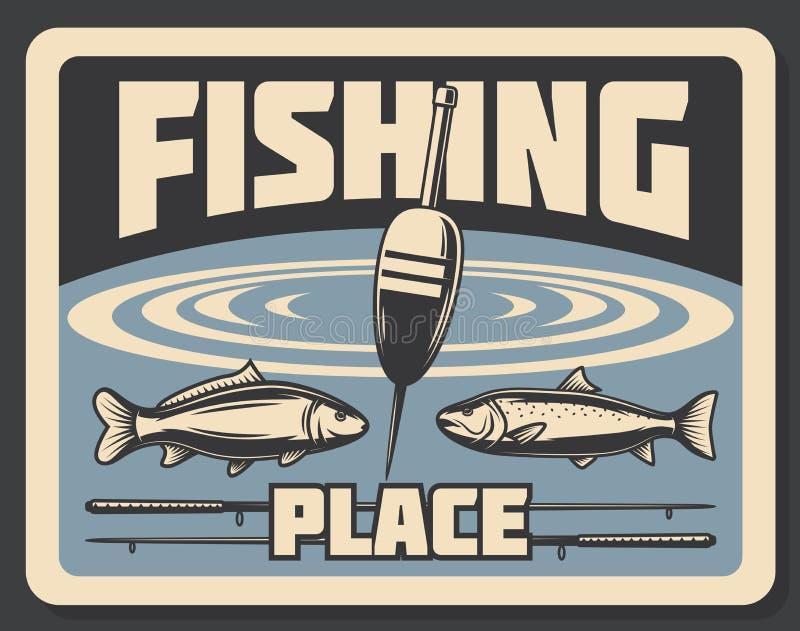 Endroit pour pêcher le bobber et les poissons d'affiche de pêche illustration stock