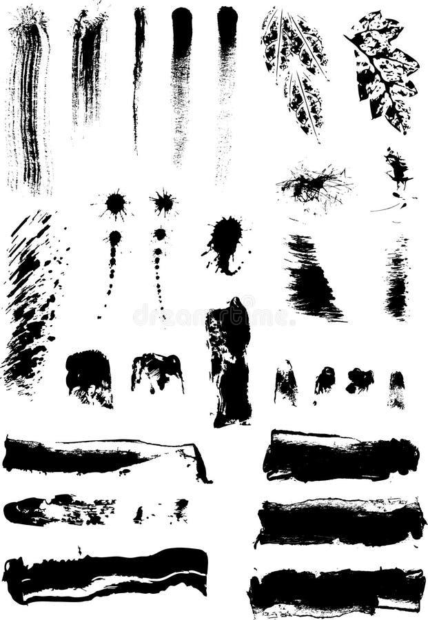 Endroits artistiques d'encre et de peinture illustration de vecteur