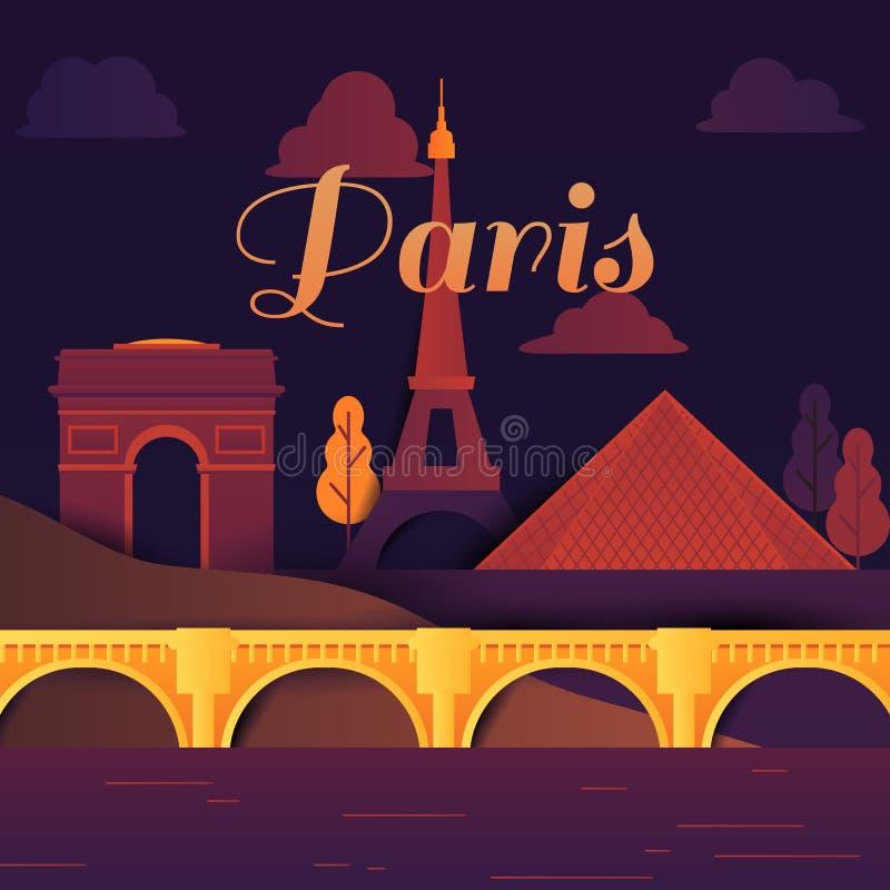 Endroits célèbres dans des tons de Paris, de la France, jaunes et pourpres, coupe de papier illustration de vecteur