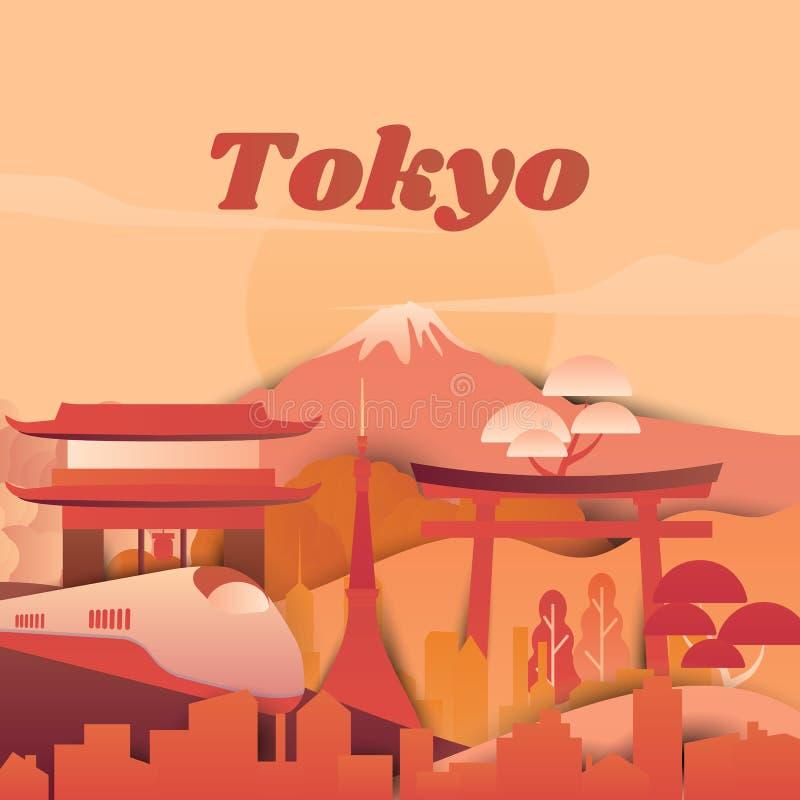 Endroits célèbres dans des tons de Tokyo, du Japon, rouges et oranges, coupe de papier illustration de vecteur