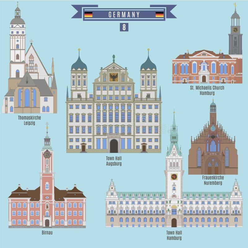 Endroits célèbres en Allemagne illustration de vecteur
