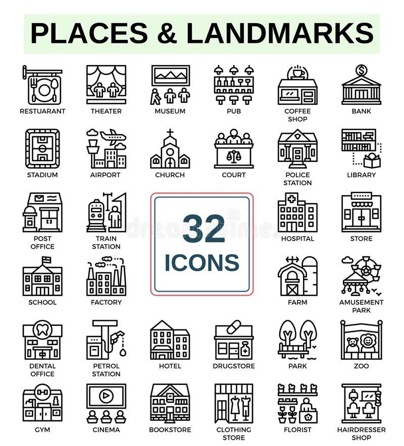 Endroits et points de repère de ligne ensemble d'icône photos stock