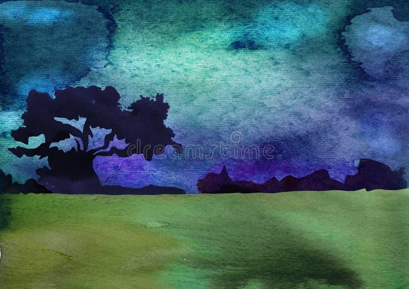 Endroits exotiques Hawaï, Haïti, Maldives, pays chauds Illustration d'aquarelle dans le style de découper le papier Avec des palm illustration libre de droits