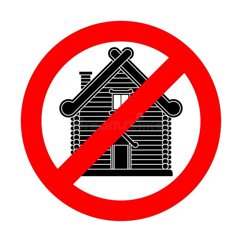 Endrussische Hütte Verbot-Russland-Kultur Rotes VerbotVerkehrsschild vektor abbildung