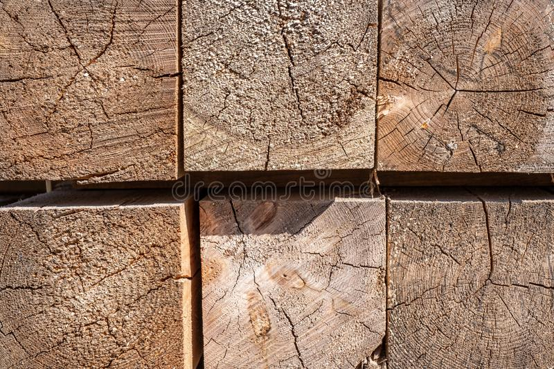 The ends of the wooden bars. wood cut texture closeup.  stock photography