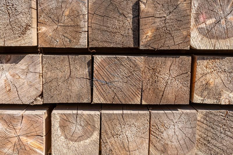 The ends of the wooden bars. wood cut texture closeup.  stock photo