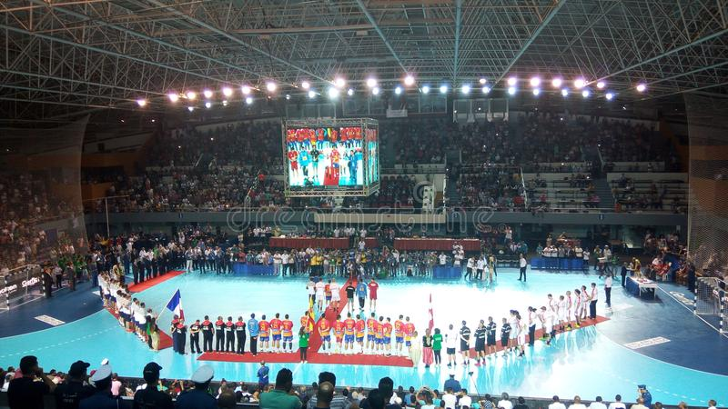 Endspiel des Handballs u21 Worldcup stockbild