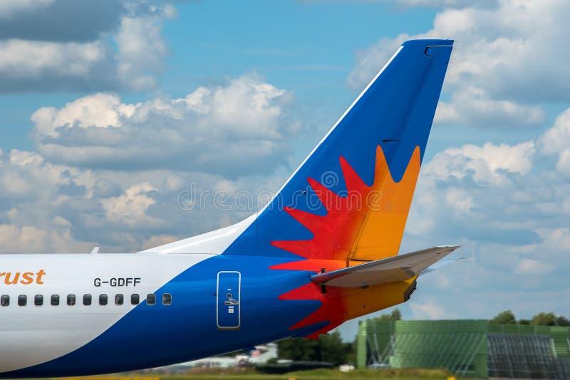 Endstück Boeings 737 der Fluglinien-Jet2 stockfotos