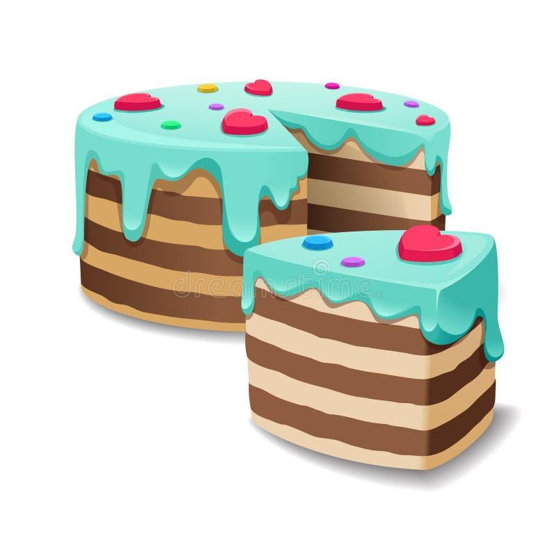 Endureça e os bolos remendam ou o vetor da fatia da torta ilustração do vetor