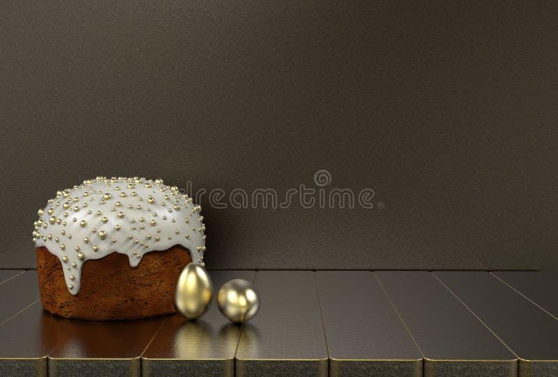 Endureça, ovos dourados no cinza um fundo ilustração stock
