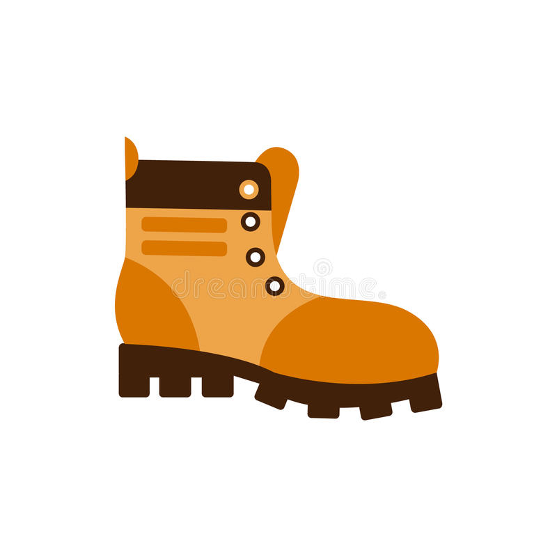 Enduring Leather Boot, Camping And Hiking Outdoor Tourism Related Item Isolated Vector Illustration. Part Of Forest Touristic Adventures Objects Collection In royalty free illustration