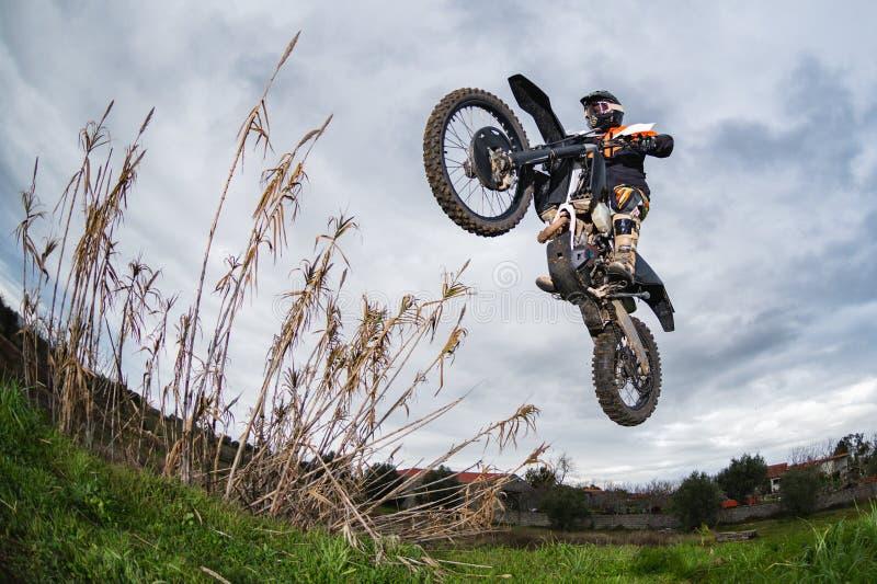 Enduro bike rider royalty free stock images