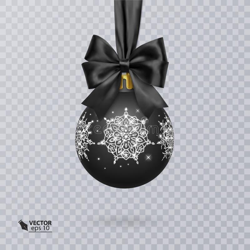 Enegreça, bola do Natal decorada com uma curva preta realística v ilustração royalty free