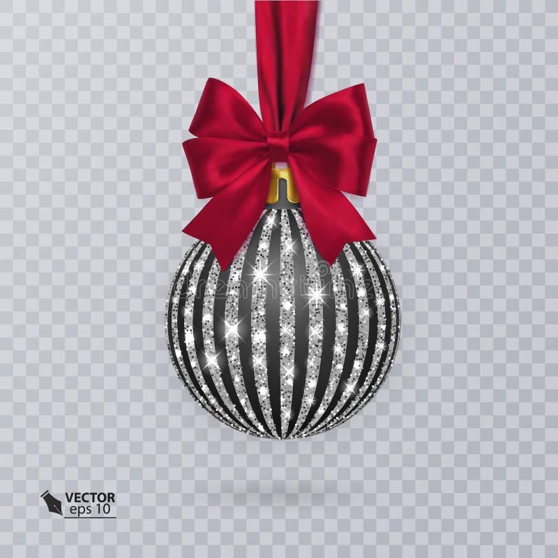 Enegreça, bola do Natal decorada com uma curva vermelha realística ilustração royalty free