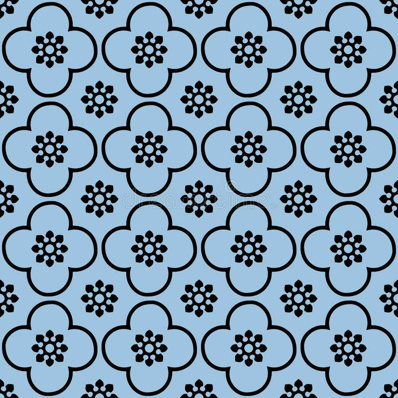 Enegreça em claro - fundo sem emenda azul do teste padrão da repetição do clube e do círculo ilustração stock
