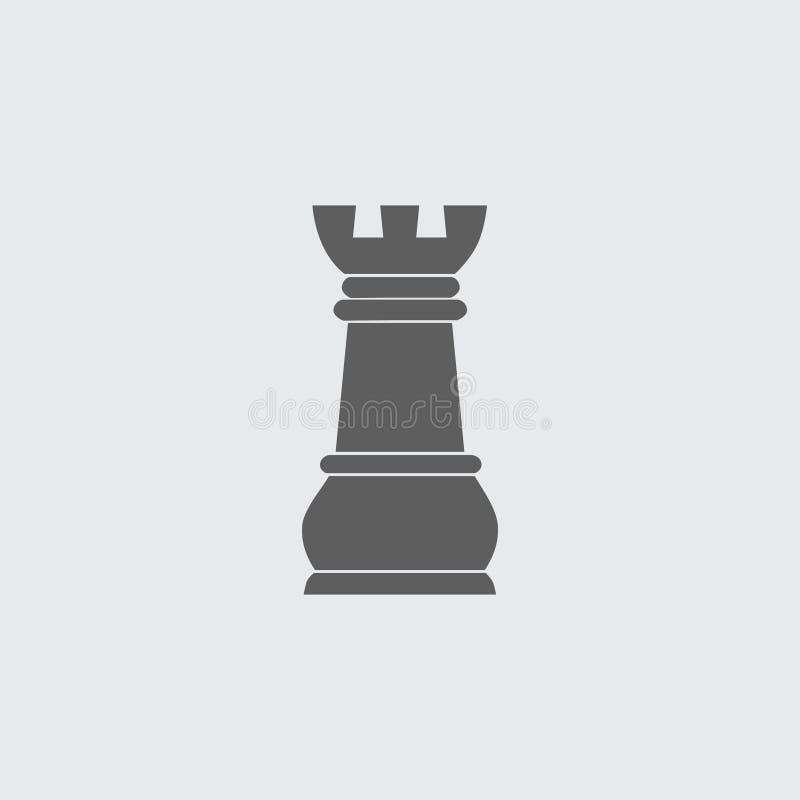 Enegreça a figura lisa ícone da xadrez do vetor da gralha ilustração stock