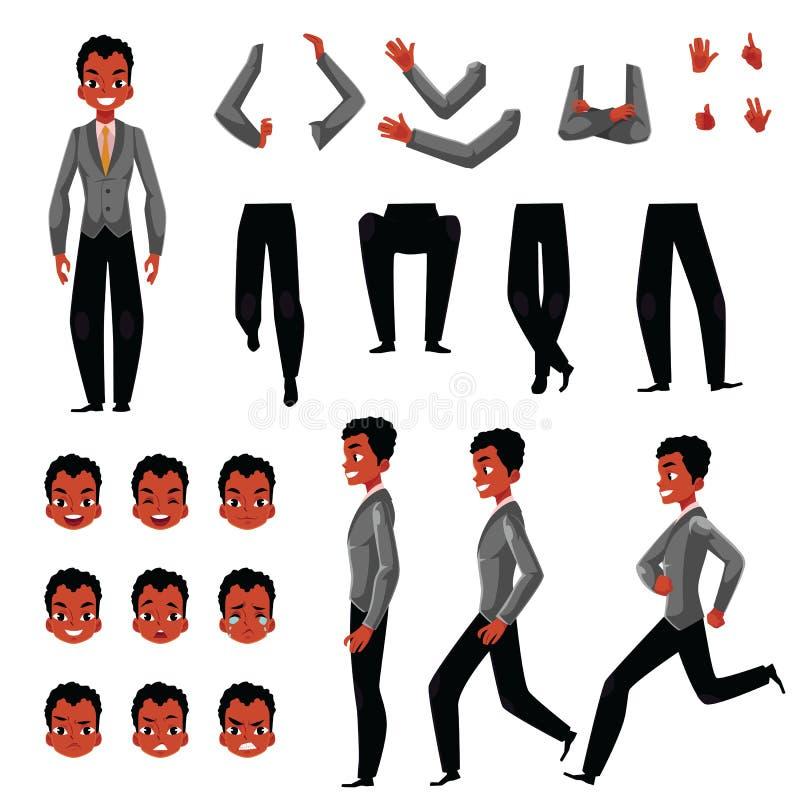 Enegreça, grupo afro-americano da criação do caráter do homem, gestos diferentes, emoções ilustração do vetor