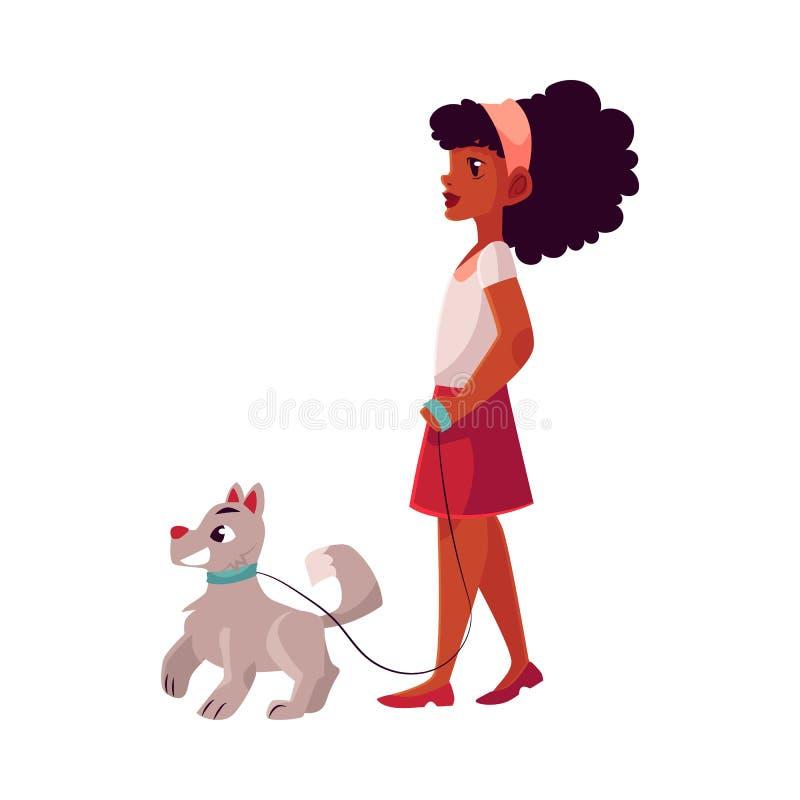 Enegreça, menina afro-americano que anda com o cão na trela fraca ilustração do vetor